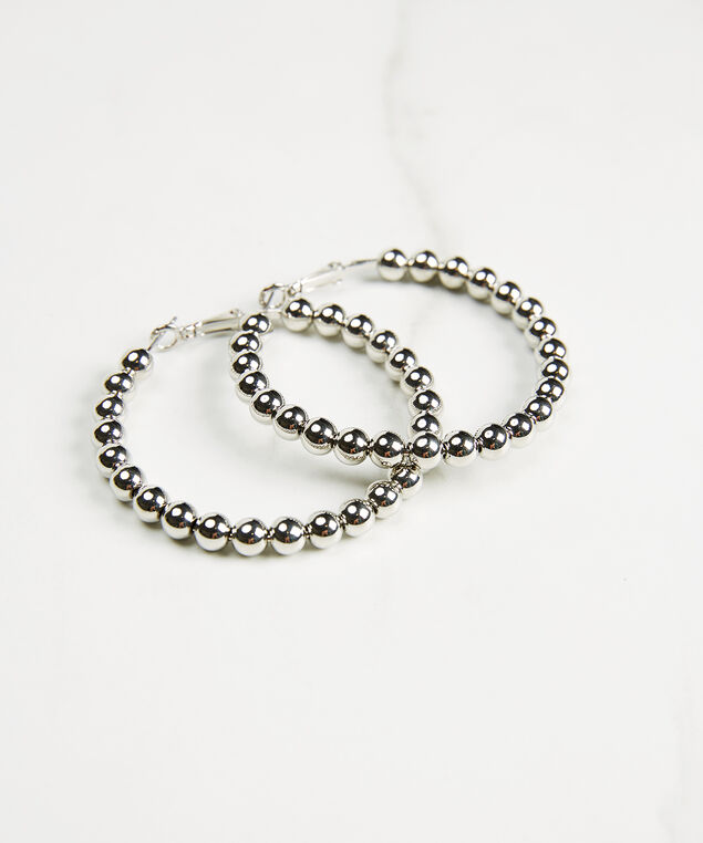 Hoop earrings with ball details, Silver, hi-res