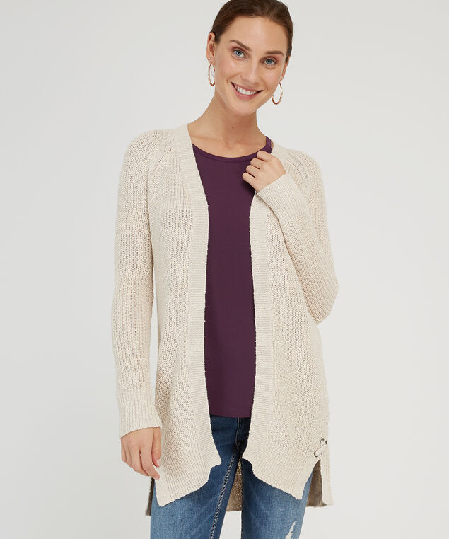 long lace up side cardigan - wb, OATMEAL, hi-res