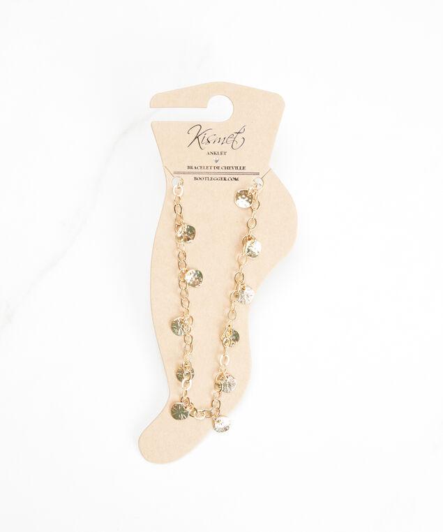 indented pendant anklet, Gold