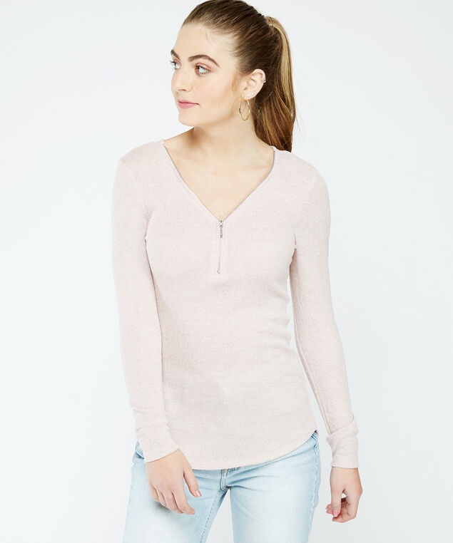 zipper neck top -wb, Pearl