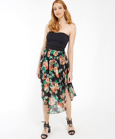 stretch lace dress with chiffon skirt - wb, BLACK FLORAL, hi-res