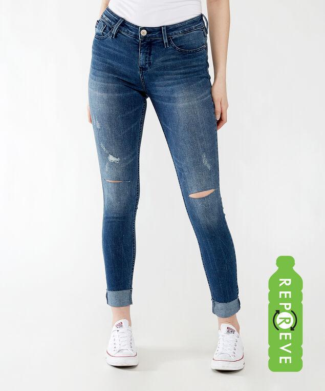 mid-rise skinny with cuffed hem,