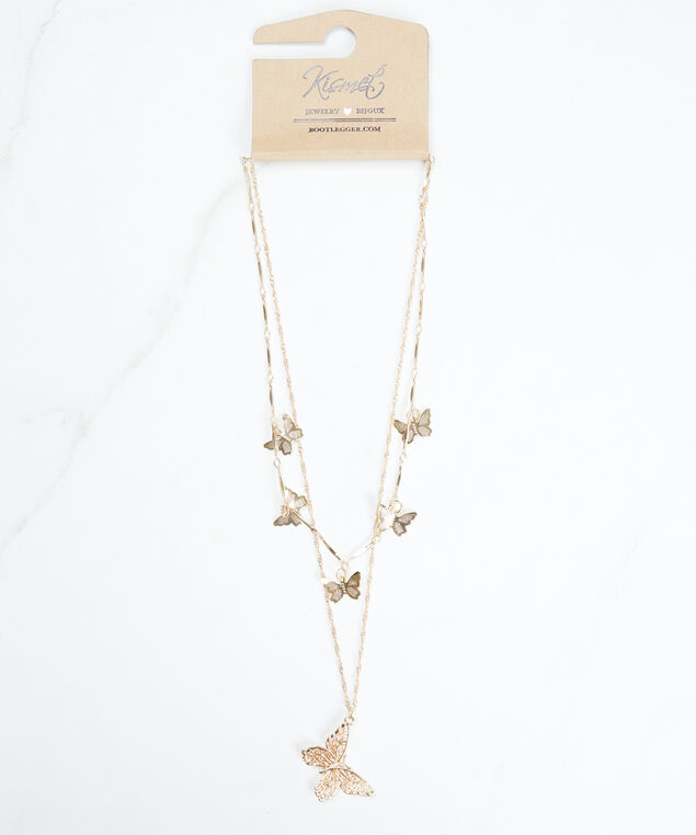 layered butterfly necklace, Gold
