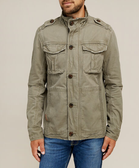 military canvas jacket, OLIVE, hi-res