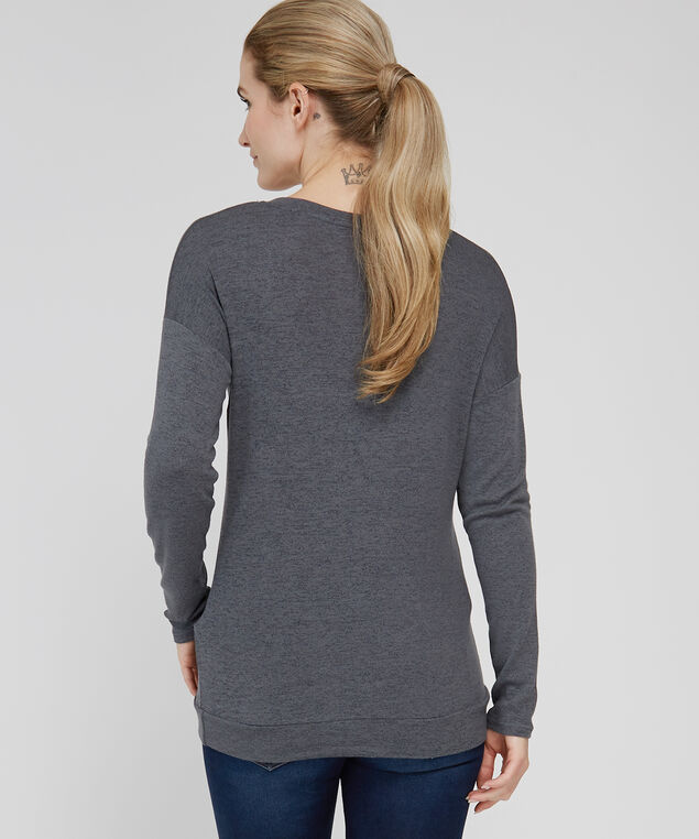 tunic length v neck - wb, CHARCOAL, hi-res