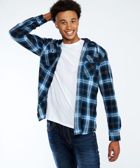 hooded flannel, Navy, hi-res