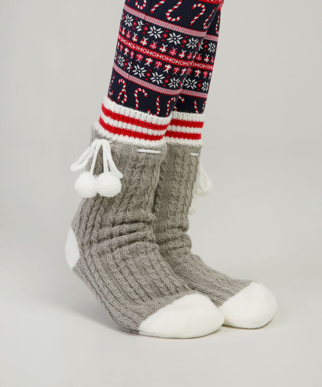 cable knit slipper sock hol17, CABIN, hi-res