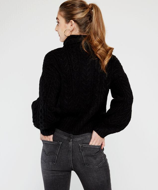 cable knit turtleneck, Black, hi-res