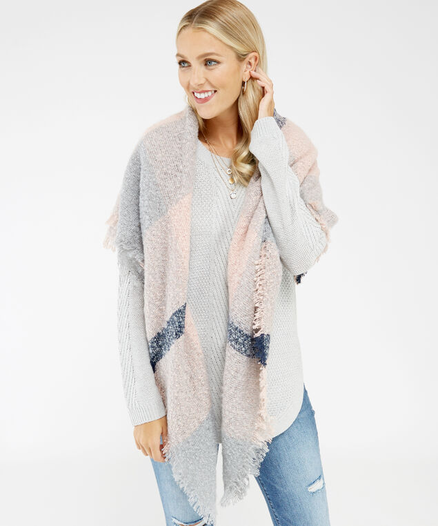 square blanket scarf, PINK, hi-res