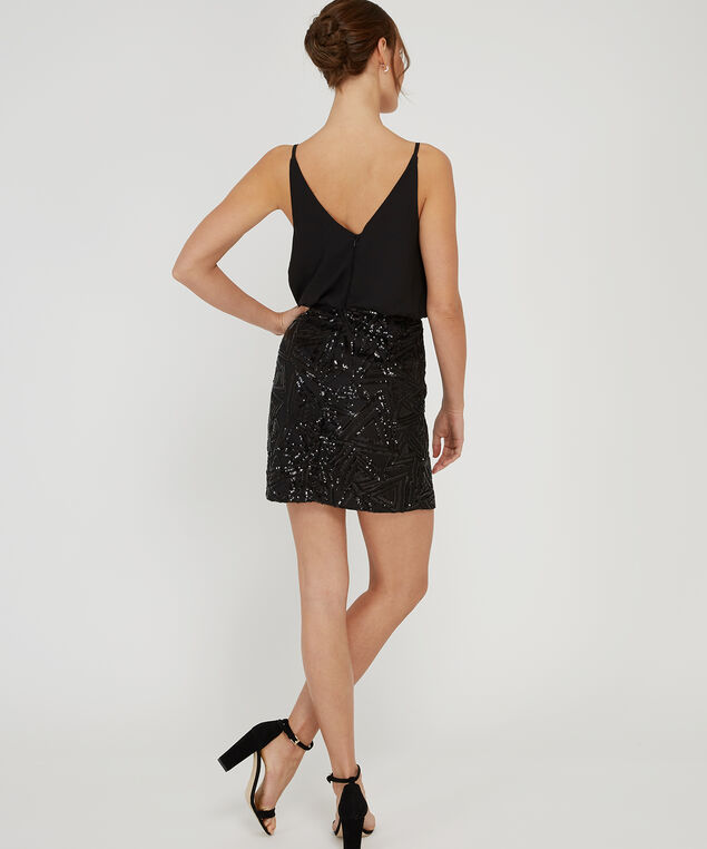 beaded skirt dress - wb, BLACK, hi-res