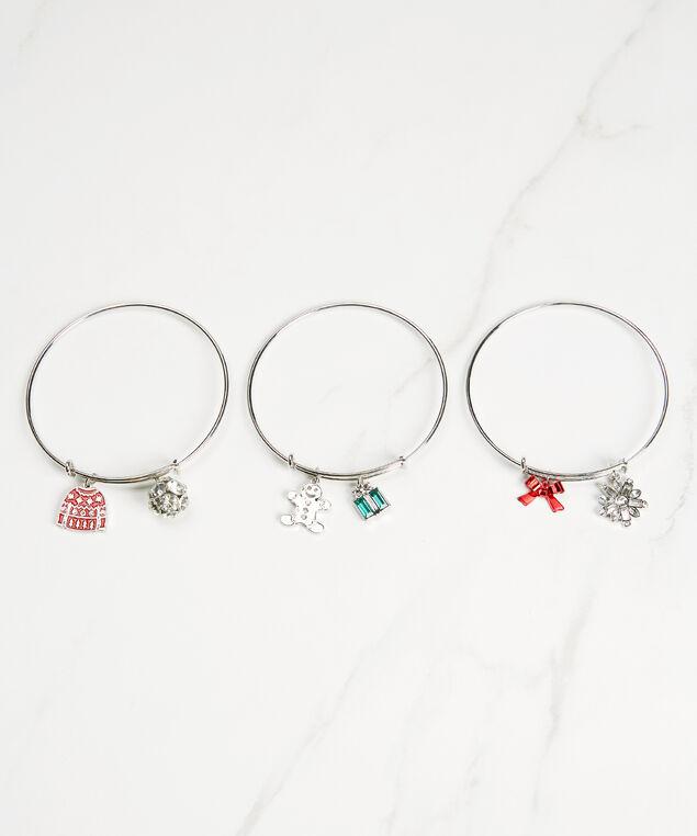 3 holiday charm bangles, Silver, hi-res