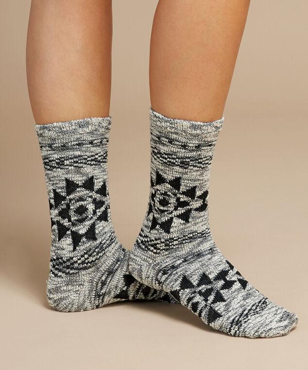 navajo crew socks, IVORY/BLACK, hi-res
