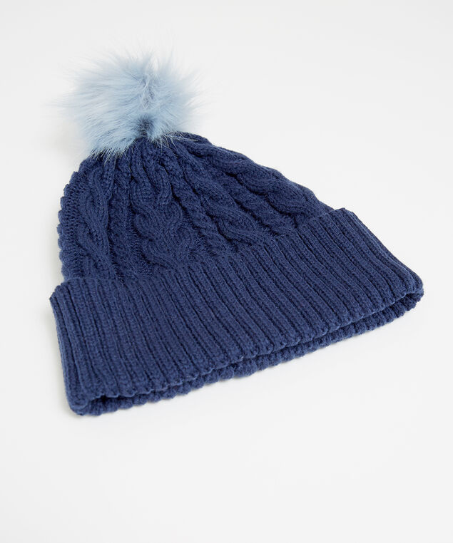 cable knit beanie, NAVY, hi-res