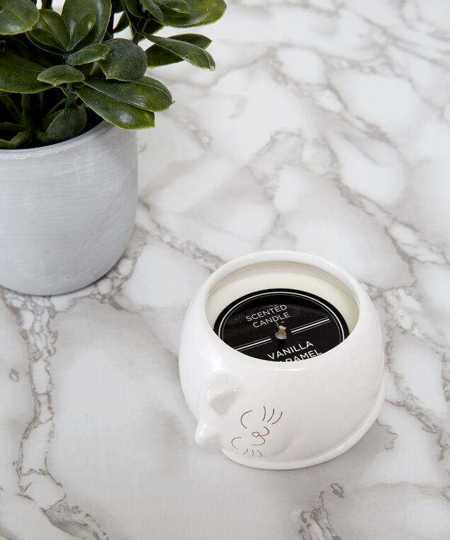 ceramic cat candle, WHITE, hi-res