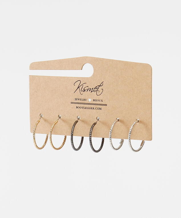 3 pack of hoop earrings, MULTI, hi-res