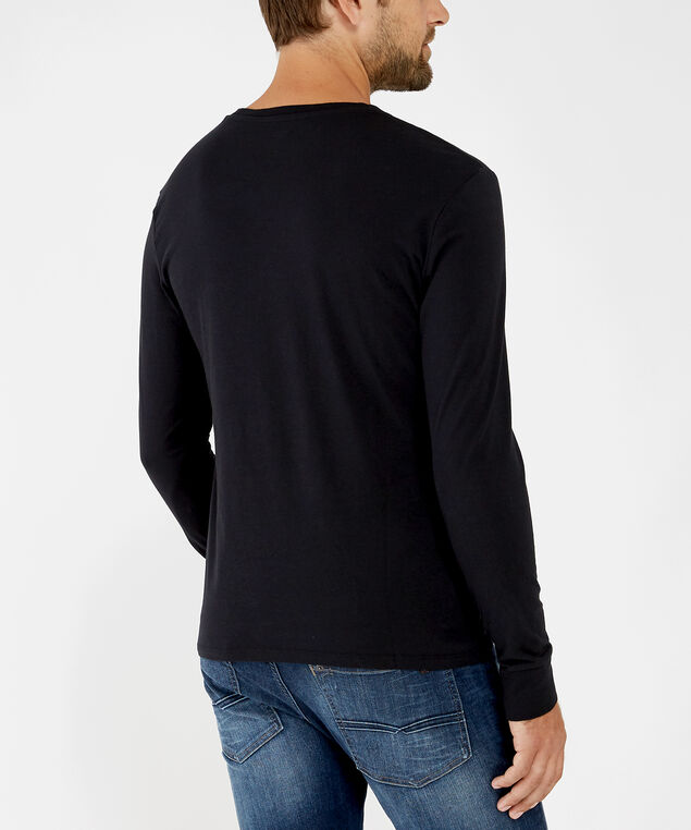 long sleeve logo tee - wb, black, hi-res