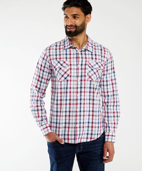 yd plaid with pockets sp21, Red Plaid, hi-res
