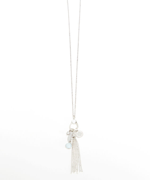 fringe necklace, Silver, hi-res