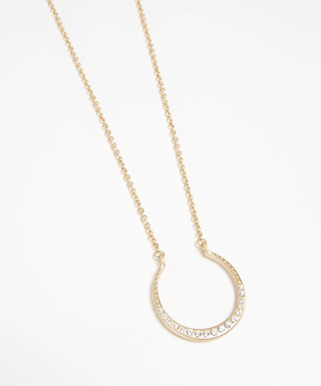 horseshoe necklace, GOLD, hi-res