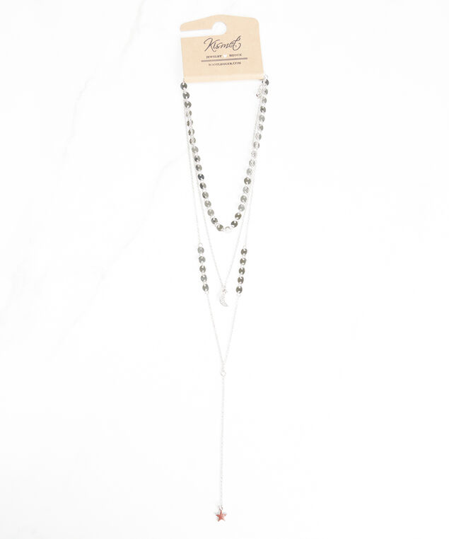 long layered necklace, Silver