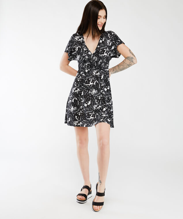smocked waist dress, Black White Floral