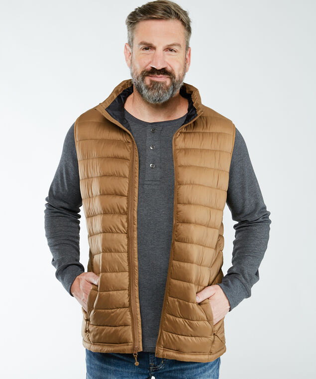 shred puffy vest, Taupe