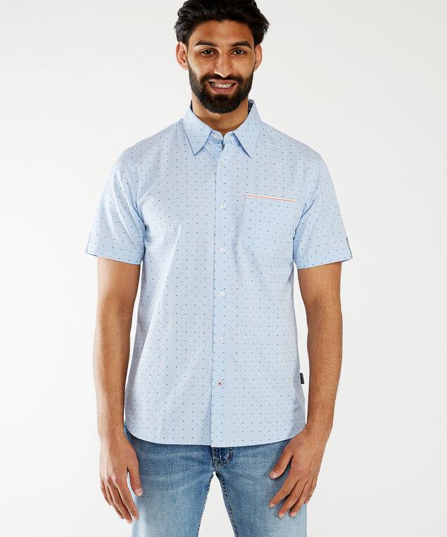 ss button front shirt, Blue Pattern