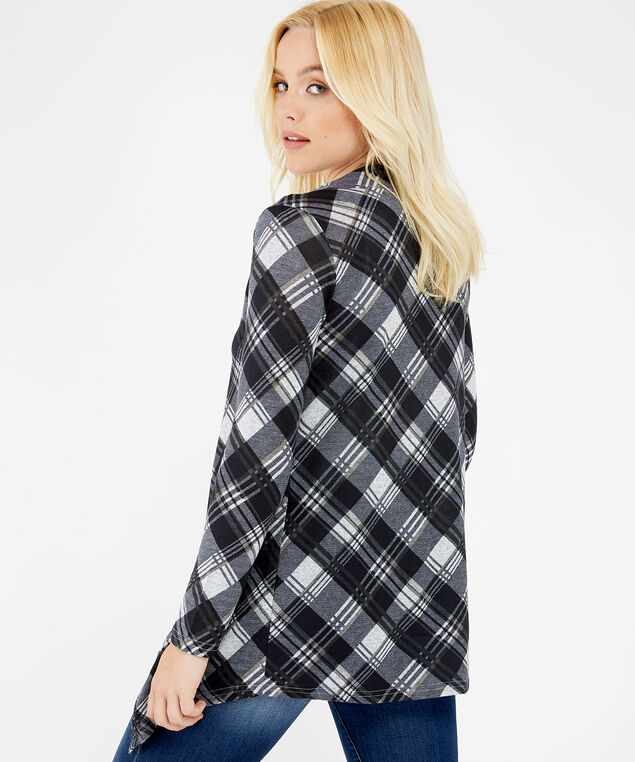 lightweight open plaid shirt - wb, black plaid, hi-res