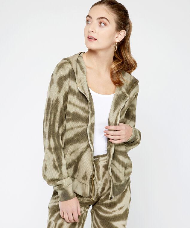zip tie dye hoodie - wb, Natural