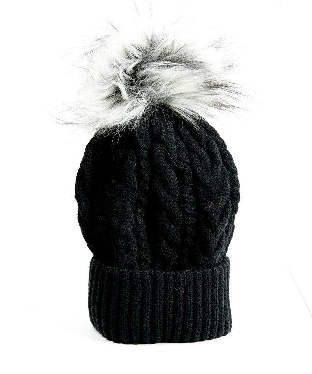 cable knit toque with faux fur pom, Black, hi-res