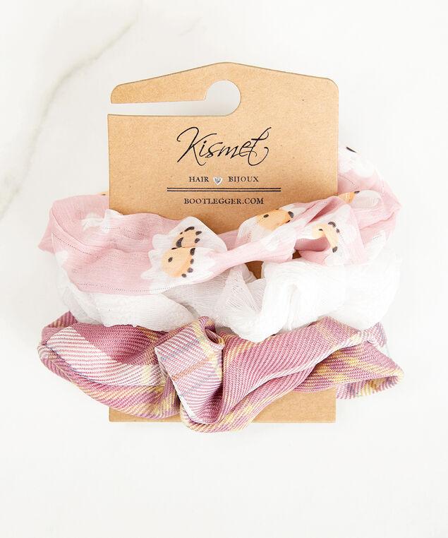 3 pack hair scrunchies, Pink