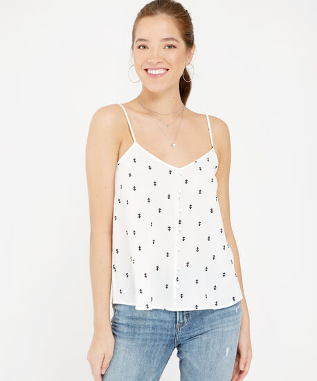 button down printed tank, IVORY, hi-res