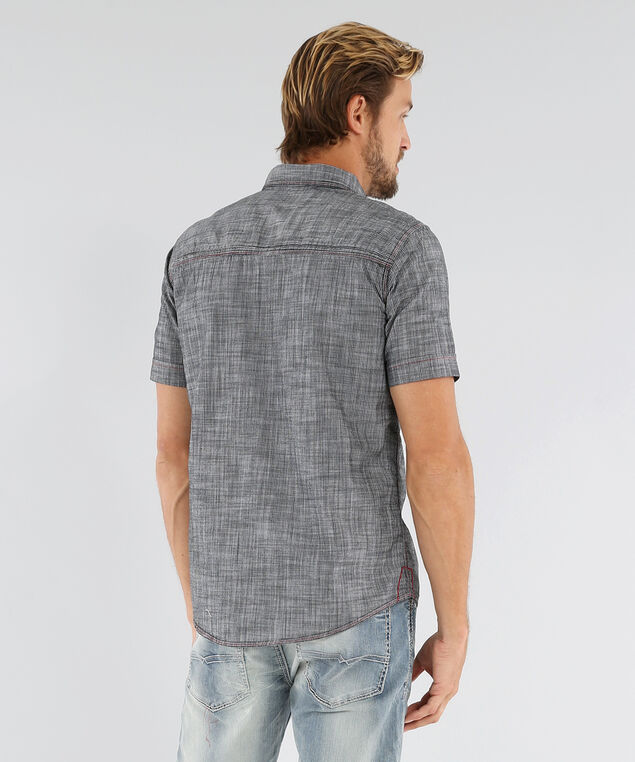 woven shirt with topstitch - wb, BLACK, hi-res