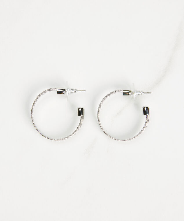 small soldered hoops, Silver, hi-res