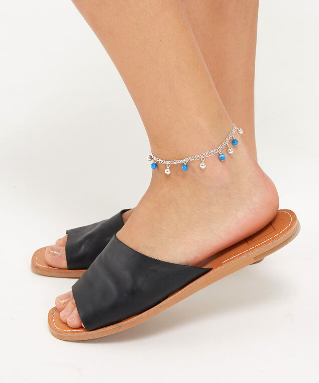 double strand bead anklet, GREY PATTERN, hi-res