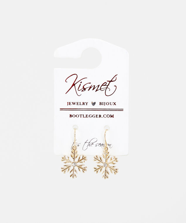 holiday snowflake earrings, Gold, hi-res