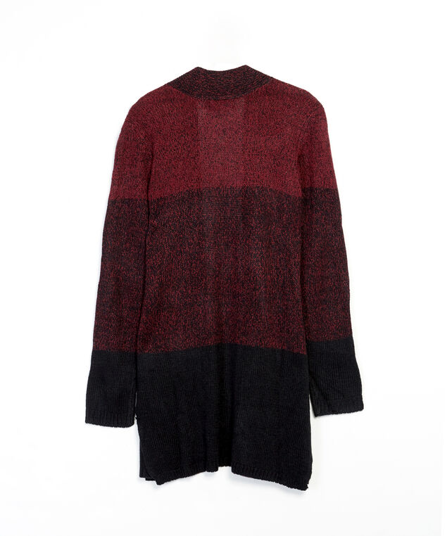 colour block cardigan - wb, Wine, hi-res