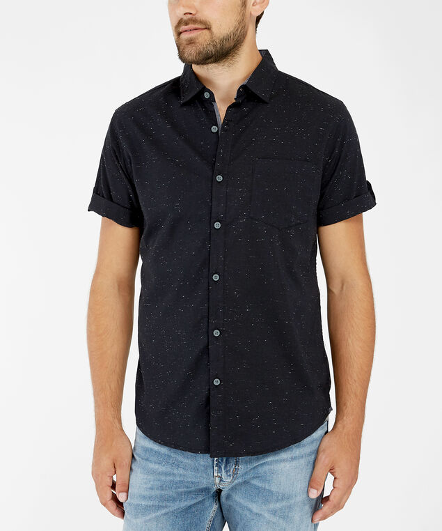 flecked shirt, BLACK, hi-res