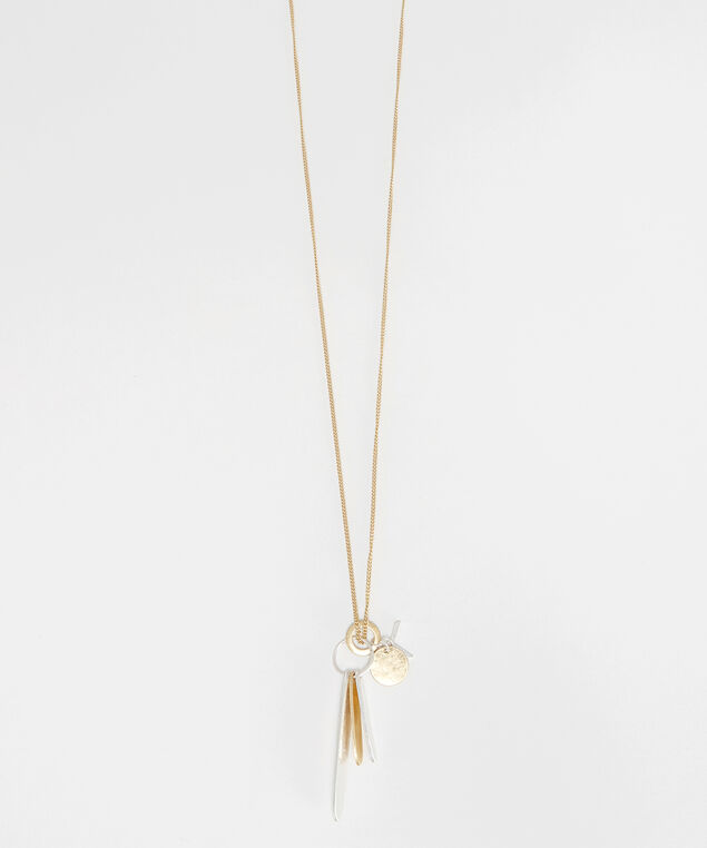 brushed metal cluster necklace, gold/silver, hi-res