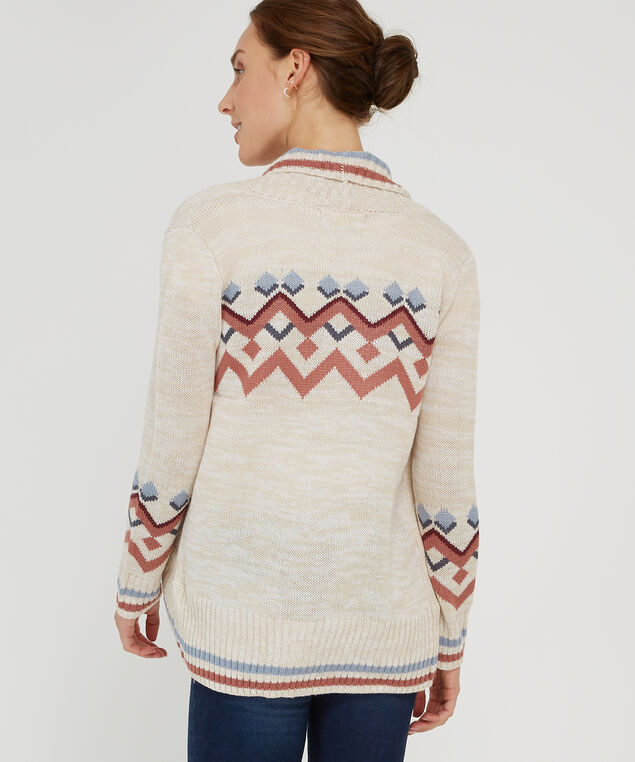 cocoon cardigan with pattern - wb, OATMEAL, hi-res