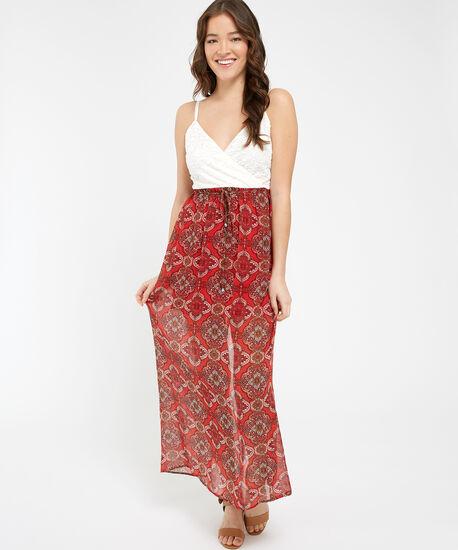 lace wrap bodice maxi dress - wb, PRINT, hi-res