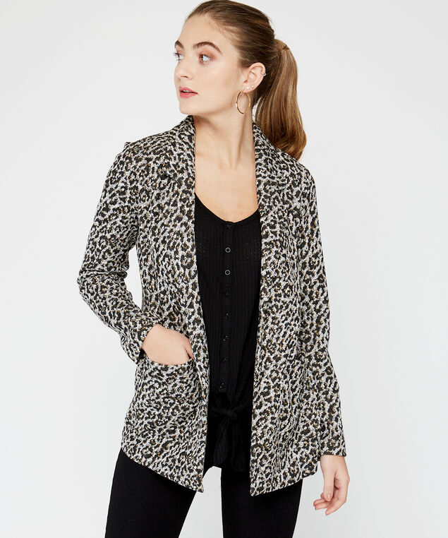 animal print blazer, Multi, hi-res