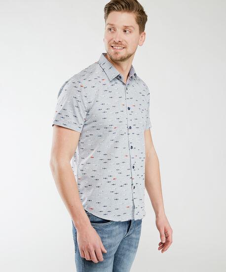 short sleeve shark shirt, Grey Shark Print, hi-res