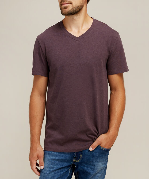 owen v neck melange, WINE MELANGE, hi-res