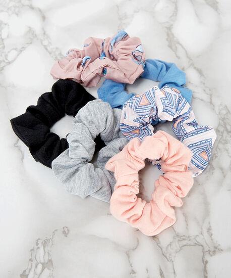6 piece hair scrunchies, PINK, hi-res