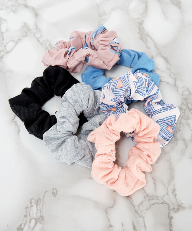 6 piece hair scrunchies, PINK, hi-res