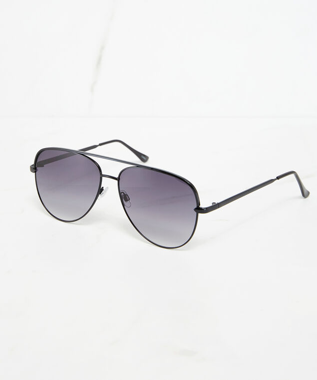 black metal aviator sunglasses, Black, hi-res