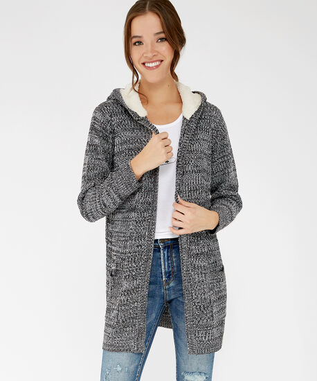 long hooded cardigan - wb, Black, hi-res