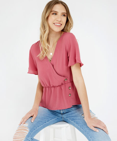 peplum blouse - wb, ROSE, hi-res