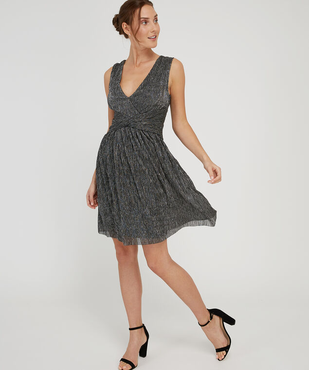 knotted waist sparkle dress - wb, METALLIC, hi-res